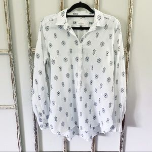 Loft Small Softened Button Tunic Top Long Sleeve